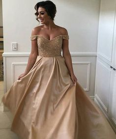 champagne prom dresses, cheap prom dresses long, off the shoulder prom dresses, beaded prom dresses 2017, new arrival prom dresses, beaded prom dresses