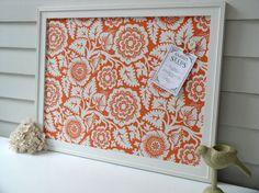 Magnet Board - Storage Organizer Bulletin Board Framed Magnetic Board in Orange Blossom - Memo Board with Joel Dewberry Designer Fabric. $179.00, via Etsy.