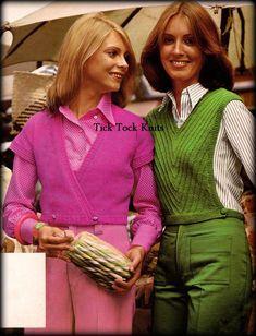 70s Women Fashion, 60s And 70s Fashion, Retro Fashion, Vintage Fashion, Women's Fashion, Fashion Ideas, Fashion Inspiration, Cropped Cardigan Sweater, Sweater Vests