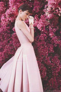 Audrey Hepburn Flower Girl Portrait Poster 24x36
