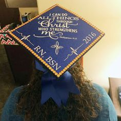 A fitting nursing graduation cap for a Texas nurse whose parents became terminally ill during her RN to BSN program.