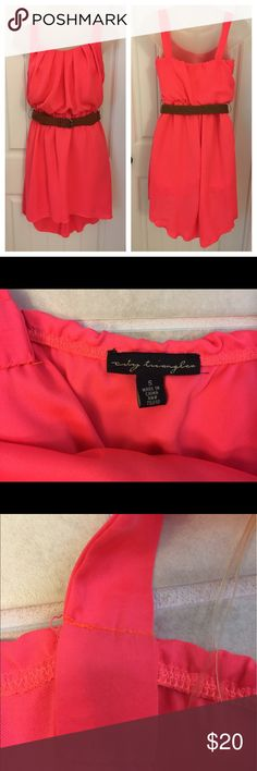 City Triangles Bright Color Great For Summer Dress City Triangles Dress. Size small. High low style. Bright neon color. Has been altered in straps as shown in photos but can be easily taken out. Brown belt included. Great for summer. Pre-owned with no known tears snags or stains. Comes from smoke free and clean home. Thanks City Triangles Dresses High Low
