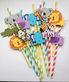 Set Of 12 Safari/Jungle Animal Party Straws great for Baby Showers,Birthday Parties ,zebra, elephant, alligator, monkey, hippo, lion, zoo. $16.99, via Etsy.
