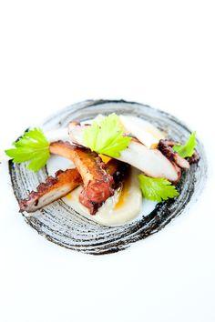 Octopus a la plancha with Garlic Purée & Miso-Squid Ink Sauce