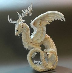 White Antler Dragon by creaturesfromel on Etsy
