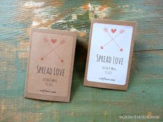 """100 Personalized Seed Packet Envelopes, """"Spread Love"""" hearts, arrows, rustic wedding favors, mini Kraft brown, 2 1/4""""x3 1/2"""" (57x89mm)"""