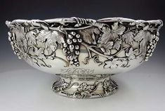 Gorham sterling silver punch bowl or centerpiece with applied grapes and vines - Providence, c1906 (Britannia Silver)