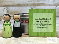 Rhett und Scarlett Peg Doll Set Geschenk-Dose von PeggedByGrace