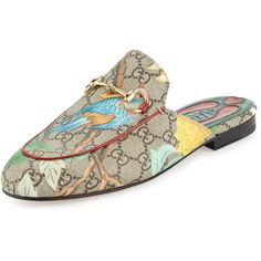 Gucci Princetown GG Canvas Horsebit Mule Slipper Flat ($695) ❤ liked on Polyvore featuring shoes, flats, gucci, multi colors, canvas flat shoes, red flats, golden shoes, multicolor shoes and flat pump shoes