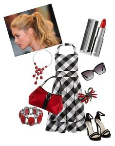 """""""Black and White Gingham Dress with a Punch of Red"""" by lindsaywassel ❤ liked on Polyvore featuring Karen Millen, Nly Shoes, Sonoma life + style, Stephen Webster, Tom Ford, Champion and Givenchy"""