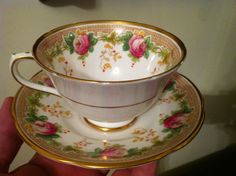 Vintage Collingwoods England Tea Cup and Saucer Pink Roses