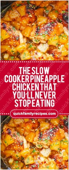 Slow Cooker Pineapple Chicken That You'll Never Stop Eating – Quick Fami. The Slow Cooker Pineapple Chicken That You'll Never Stop Eating – Quick Fami. The Slow Cooker Pineapple Chicken That You'll Never Stop Eating – Quick Fami. Slow Cooked Meals, Crock Pot Slow Cooker, Crock Pot Cooking, Cooking Recipes, Healthy Recipes, Slow Cook Chicken Recipes, Crock Pots, Slow Cooker Dinners, Budget Cooking