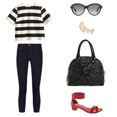 Vegan outfit featuring an H&M top, J Brand Jeans, red ModCloth sandals, Alexander McQueen sunglasses, an ear cuff by Jacquie Aiche, and a ve...