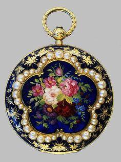 Victoria, 18 kt reloj de oro y esmalte perla - más de 150 años de edad