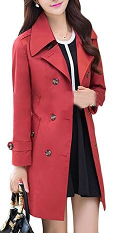 3442bab71853 ARRIVE GUIDE Womens Double-Breasted Slim Lapel Solid Trench Coat With Belt  Wine Red L. Winter Outfits For ...
