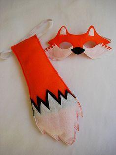 Childrens Woodland Animal FOX Felt Mask and Tail Set