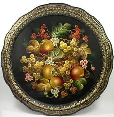 Beauty will save The art of Zhostovo trays - Beauty will save Painted Trays, Hand Painted, Russian Folk Art, Decoupage, Country Paintings, Metal Trays, Tole Painting, Tray Decor, Painting Patterns