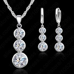 Jemmin Women Fine Jewelry 925 Sterling Silver Crystal Jewelry Sets For Wedding Pendants Necklaces Earring Set Accessory //Price: $US $4.39 & FREE Shipping //     #hashtag4