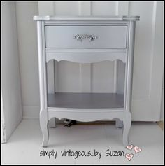 furniture makeover silver metallic end tables, painted furniture Ikea Furniture, Custom Furniture, Furniture Making, Furniture Makeover, Painted Furniture, Furniture Design, Refinished Furniture, Furniture Refinishing, Repurposed Furniture