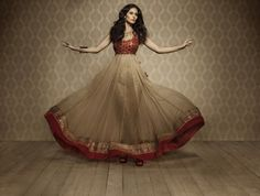 Beige and red anarkali with salwar by Indian bridal designer Namrata G. on http://indianweddingsite.com/blog/2013/10/haute-couture-indian-bridal-designer-namrata-g/