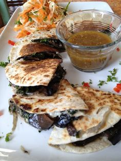 Grilled portobello mushroom quesadilla with salsa verde