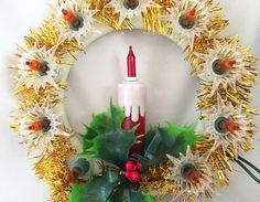 """$32 - NOMA Lighted Wreath Candle Tree Top, Vintage Tree Topper Light Boho Christmas 1970s . . . By JustVintageChristmas . . .Very bright and cheery vintage lighted wreath tree topper ornament, with a red candle burning in the center. """"NOMA Dimensional Tree Top"""", circa 1970s. Tested and working, shines brilliantly!"""