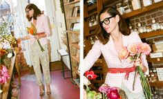 splatter paint khakis + scarf tied as obi belt to quirky and toughen up pink gingham