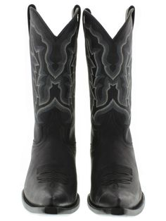 Men's cowboy boots black soft smooth leather classic western biker rodeo new