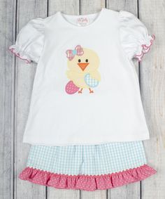 Look at this Stellybelly White Egg Chick Tee & Aqua Shorts - Infant, Toddler & Girls on #zulily today!