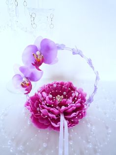 porte alliance orchidée parme violet fleur artificielle pour mariage ou cérémonie(ref,020) : Autres accessoires par fleur-angelique
