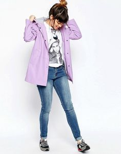 Asos Rain Mac in Block colour - Lilac