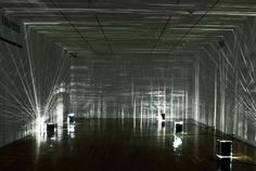 """GOETHE-INSTITUT WYOMING BUILDING, WE WOULD PROVIDE COMPLETE DARKNESS: """"shutting out light is the prime, physical condition for this exhibition. light and reflections, in contrast, provide the basic ingredients for the works"""""""