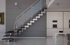 Glass Staircase Idea With Floating Stairs Having Steel Materials In Grey  And Black Design