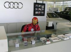 Iron Man is ready to answer your questions on the Audi R8 at the Vindis Huntingdon showroom