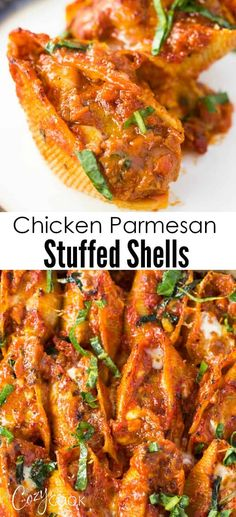 These Super Easy Chicken Parmesan Stuffed Shells Are A Perfectly Balanced Italian Family Dinner That You Can Easily Make Ahead Of Timee Until You're Ready To Bake It's Also Freezer Friendly Chicken Stuffed Shells, Stuffed Shells Recipe, Healthy Stuffed Shells, Italian Stuffed Shells, Italian Dinner Recipes, Italian Dishes, Chicken Penne Recipes, Chicken Freezer, Crack Chicken