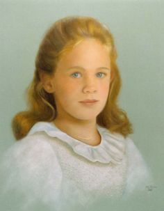Omaha Portrait Commission, Madeleine age seven, pastel art, 20x16 inches, by Nancy Lee Moran in 1998, created from Nancy's own photographs and sketches, colors of gray, brown, gray green