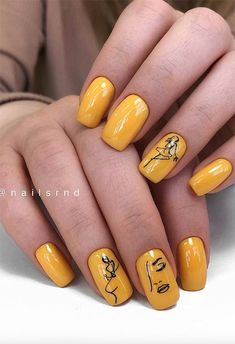 Best Natural Short Square Nails Design For Summer Nails - short yellow Square Nails Design - Carpets Mag Square Nail Designs, Pretty Nail Designs, Pretty Nail Art, Nail Art Designs, Manicure Nail Designs, Nail Manicure, Manicures, Nail Polish, Minimalist Nails