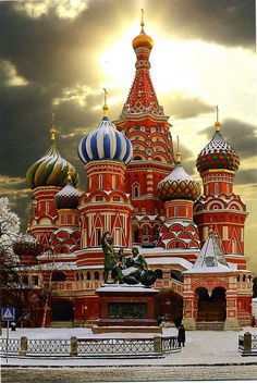 St. Basil's Cathedral in winter, Moscow, Russia
