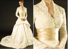 Without the poufy skirt, I like this lace gown with the wrapped bodice and wide satin sash.  In another color it would be a great MOTG dress: pale celery green perhaps.