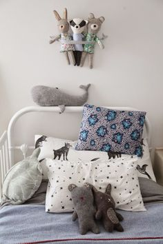 Cute kids bedroom with a blue-grey colour scheme