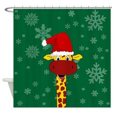 Cute giraffe with Santa hat and snowflakes - holiday shower curtain Holiday Shower Curtains, Cute Giraffe, Santa Hat, Special Day, Snowflakes, Bob, Halloween, Design, Snow Flakes