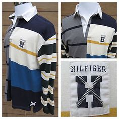 VTG Men's Tommy Hilfiger Long Sleeve Striped Colorblock Rugby Polo Patch Large  | eBay