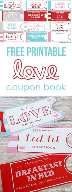 Free printable love coupon book on iheartnaptime.com ...such a fun and inexpensive idea for Valentines Day or an anniversary! #DIY #Valentines