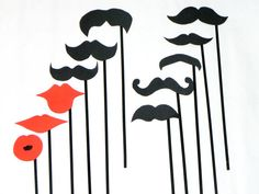 Mustache Lips On A Stick Wedding Photo Booth by IncrediblyHip, $12.00  .. I could totally make these :)