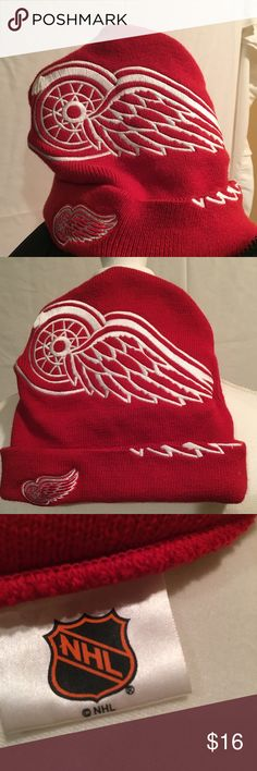 NHL Detroit red wings logo knit hat beanie NEW NHL Detroit red wings logo  knit 790c3d59760