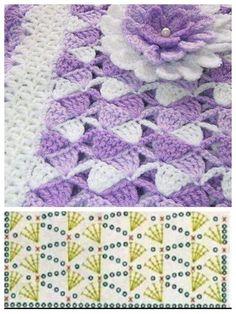 Crochet baby blanket & pattern diagram