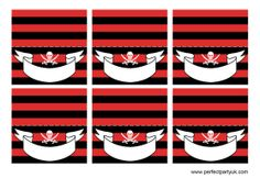 Pirate Party Printables - red food labels. Print, cut out, write the name of each dish or drink on the front, fold in half and stand up on your buffet table so guests know the difference between rum punch and grapefruit grog! Get the free printable at http://www.perfectpartyuk.com/theme-guides/pirates/free-printables/