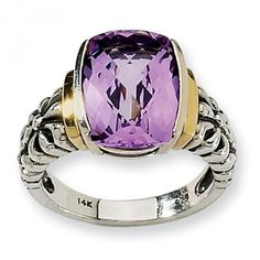 Parker Jewelers. Sterling Silver with 14k Yellow Gold Accents 6.66ct Amethyst Cushion-cut Ring. (QTC41). $300. Call (856)935-3400 to order today!