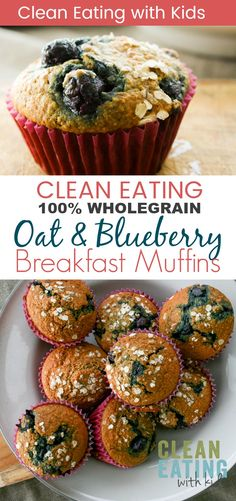 Clean Eating Oat Bran Blueberry Muffins - Clean Eating with kids Clean Eating Breakfast Recipe. Whole grain oat and blueberry muffins. Clean Eating Desserts, Clean Eating Breakfast, Clean Eating Diet, Healthy Eating, Clean Eating Muffins, Healthy Food, Clean Eating Motivation, Detox Breakfast, Eating Habits