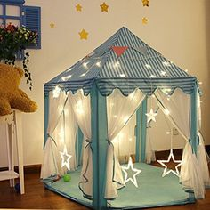Springbuds Kids Blue Princess/Prince Castle Play Tent, Large Children Playhouse for Boys & Girls with LED Star Lights, Perfect Indoor&Outdoor Child x Led Star Lights, Boys Playhouse, Tent Accessories, Kids Tents, Toy House, Princess Castle, Canopy Tent, Play Houses, Decoration